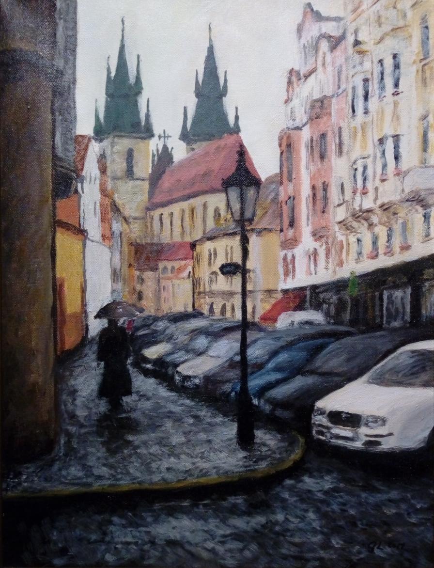 Tynkatdralen i Prag i duggregn - december 2017, akryl på duk efter eget foto - 38x50cm - SEK 3.200